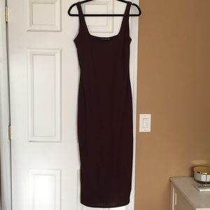 Chocolate brown cotton midi dress